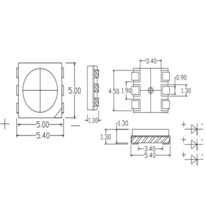 50 pcs New PLCC-6 5050 SMD 3-CHIPS white Ultra bright LED