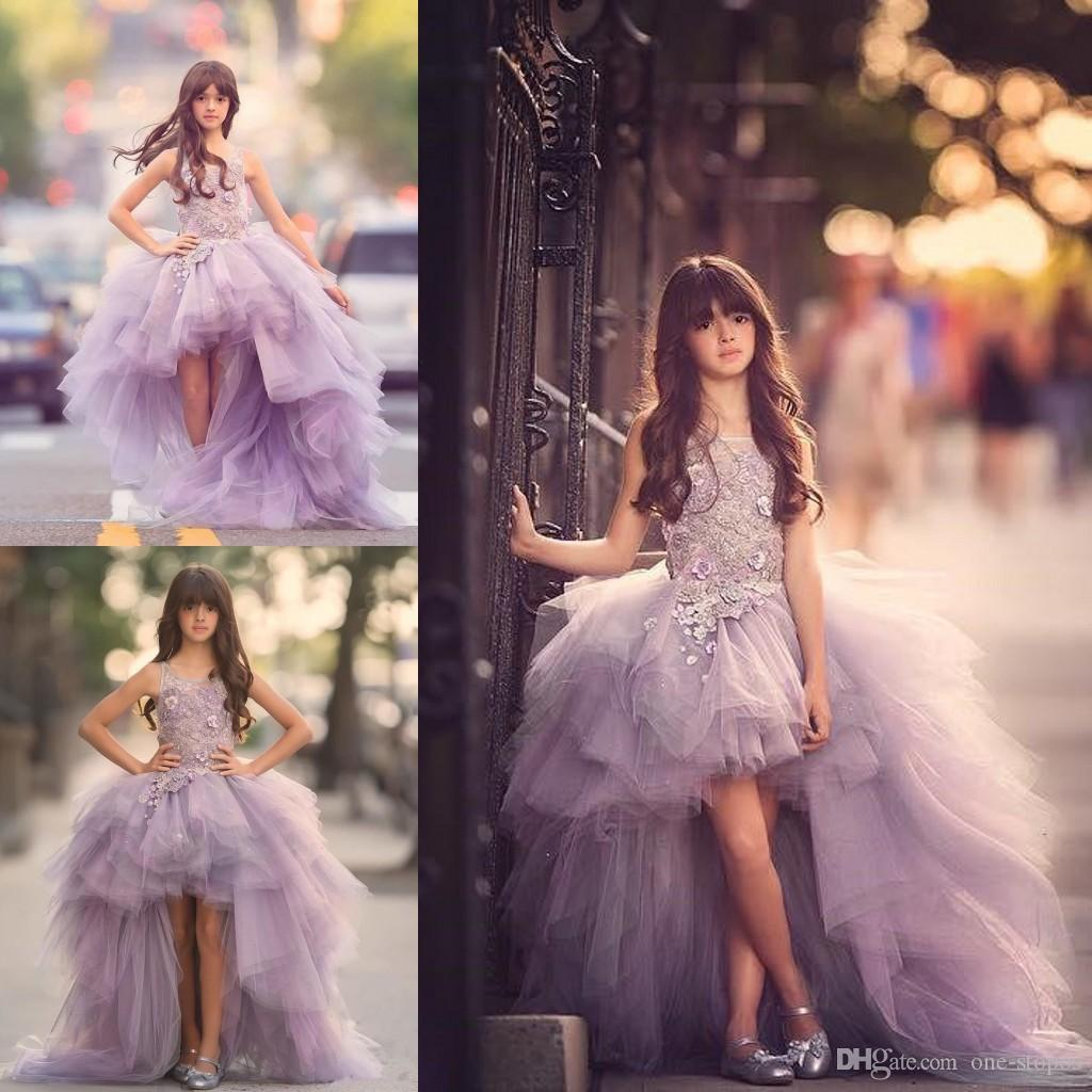 2017 Tulle High Low Girl Pageant Dresses for Teens 3D Floral Appliques Hand Made Flowers Prom Ball Gown Junior Birthday Party Pageant Dress