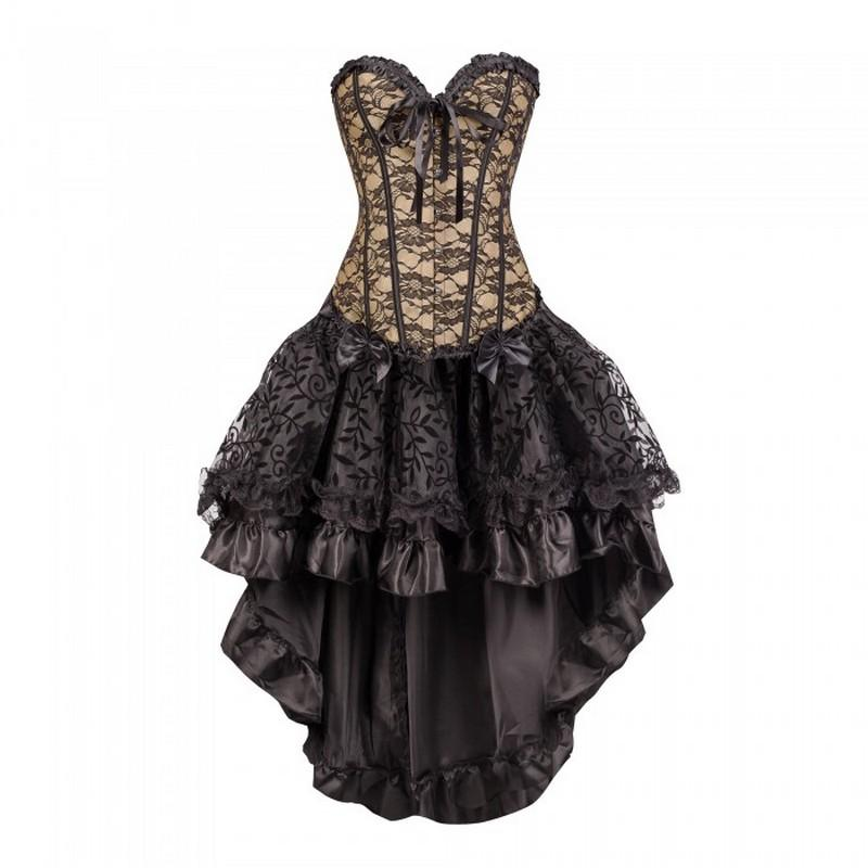 2019 Wholesale Big Plus Size Corset Outfit Black Lacy Flowers Corset Top  With Layered Black Flock Skirt Dance Corselet Top Black Blue Red Pink From  ...