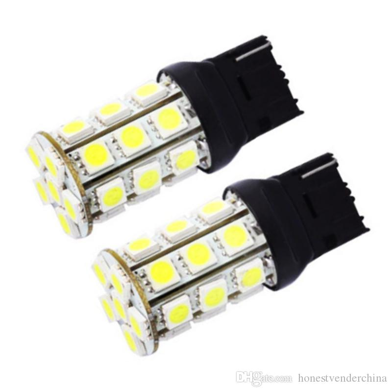 10pcs T20 W21W 7440 27 SMD 5050 LED Auto strobe flash Red tail light 27smd White Car Parking lights Tail Lamp Rear Bulb 12V
