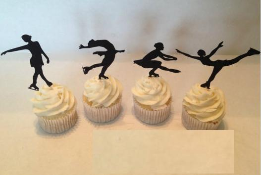 Custom Figure Skating Silhouette Cupcake Toppers sports food Picks bridal shower Bachelorette Party wedding birthday Party Decoration