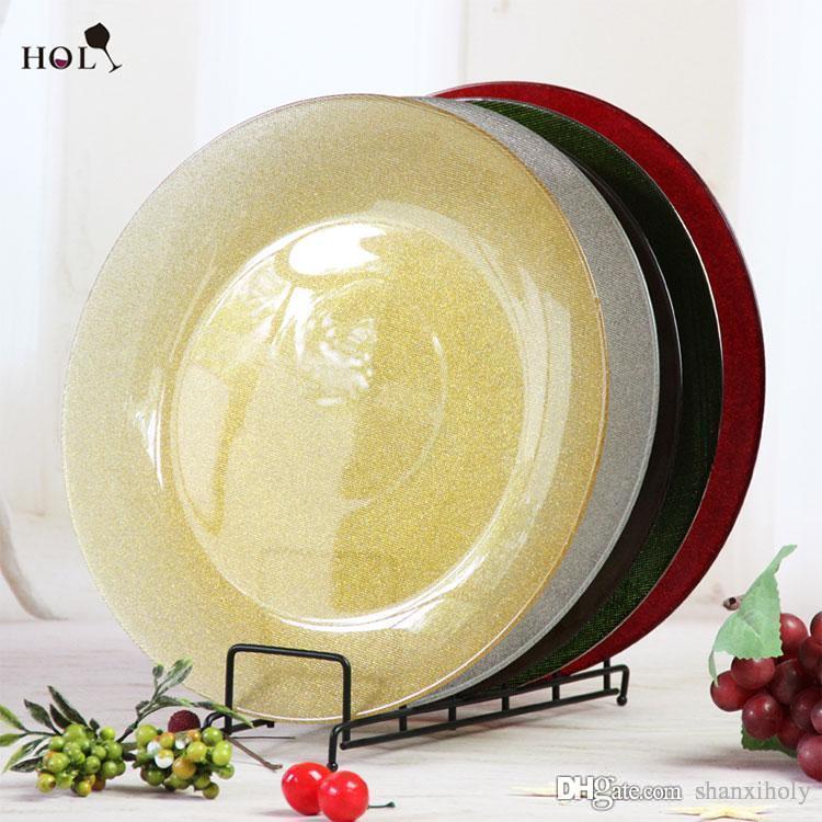 Preiswerter Großhandel Gold Plate Glass Decoration für Events