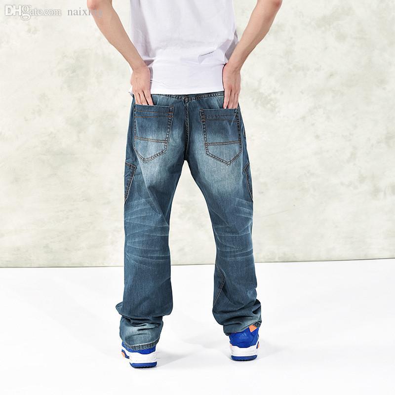 Toptan-Erkek Hip Hop Baggy Jeans Moda Gevşek Fit Harem Denim Pantolon Sıkıntılı Kaykay Denim pantolon B1167