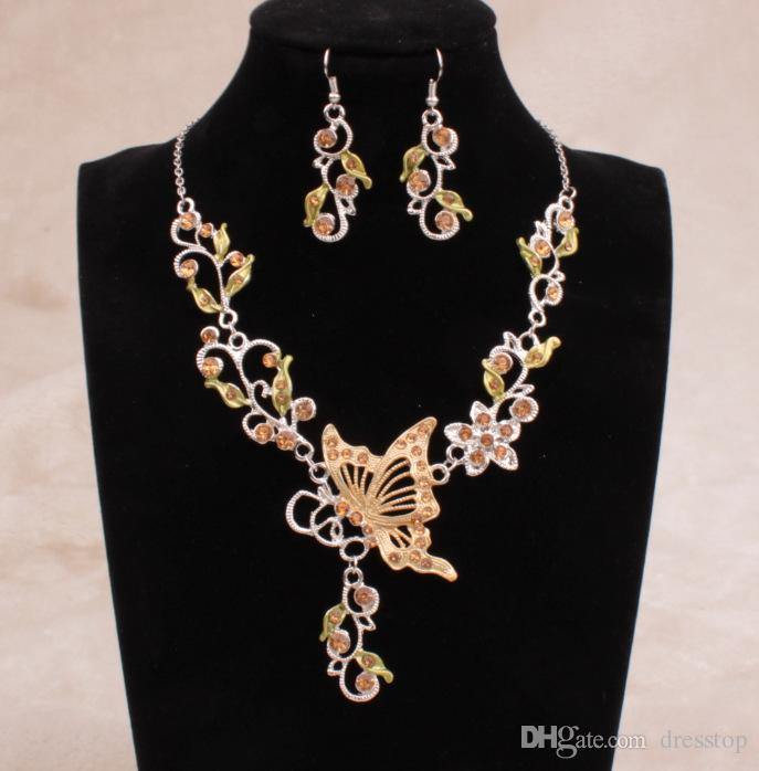 En stock 6 colores brillantes diamantes de imitación flores de mariposa nupcial dama de honor collar y pendientes fiesta de bodas conjunto de joyas baratas