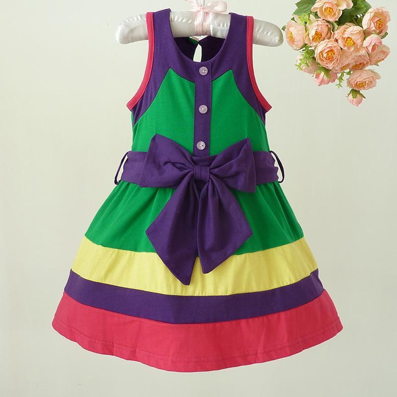 Menina de algodão vestido contraste cor jumper saia criança roupas meninas verão vestido bonito bebê menina presente presente para crianças