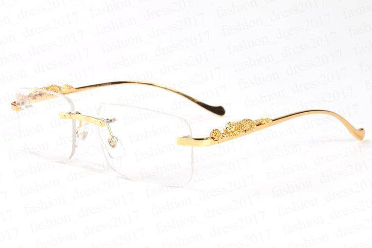 nuovi occhiali da sole Polaroid di moda per gli uomini raffreddano oro e argento del modello del leopardo con stent di metallo occhiali da sole senza montatura nero marrone chiaro lente a specchio