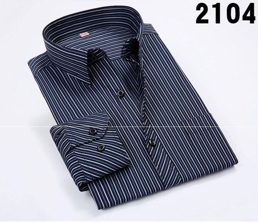 Wholesale-2016 New Fashion Men Shirts Male Striped Formal Dress Shirt Long Sleeve Mens Brand Casual Shirts Plus Big Size US Size 4XL