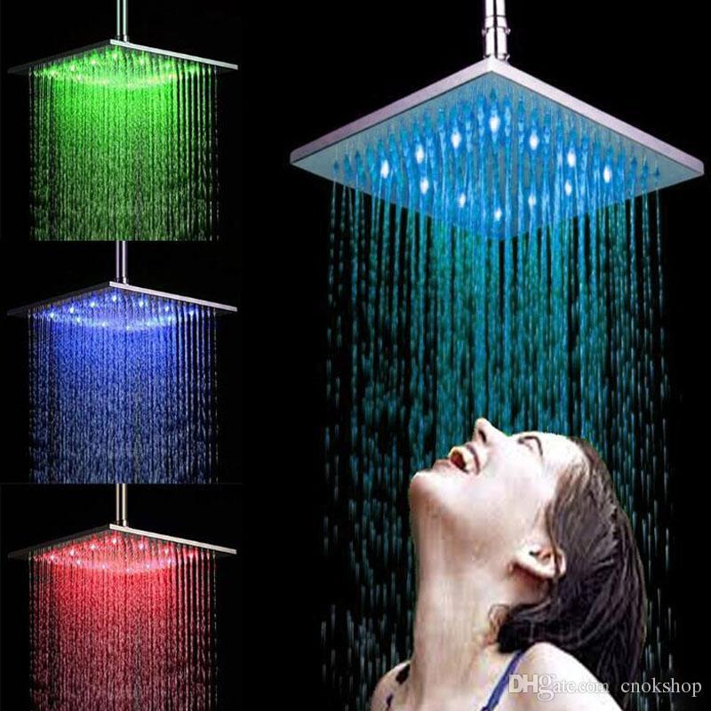 "12 ""pulgadas 30 cm RGB LED luz Latón Cromo Lluvia Lluvia Baño de la ducha, Cabezal de ducha que ahorra agua Baño"