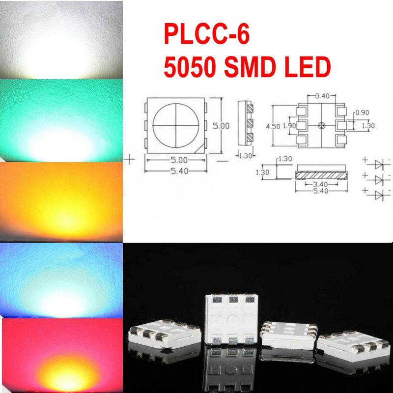 5Color 1000 stücke Weiß Rot Blau Grün Gelb PLCC-6 5050 SMD 3-Chips LED Lampendioden ultra hell