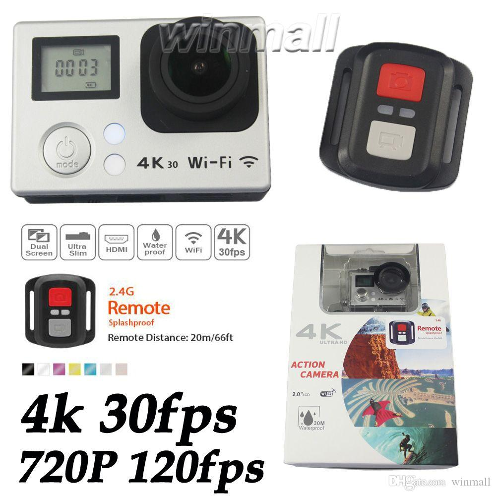 V3 2.4G التحكم عن بعد الشاشة المزدوجة 4K عمل الكاميرا للماء مصغرة سيارة DVR 16MP 720P 120fps