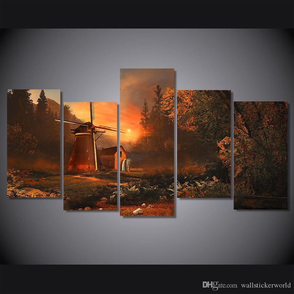 5 Pcs/Set Framed Printed sunrise forest miller's house Painting on canvas room decoration print poster picture canvas Free shipping/ny-4406