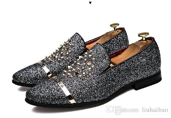 2018 Handmade rhinestone men suede black crystal loafers Luxury party wedding men shoes Metal Tip men's flats Size: EU38-43