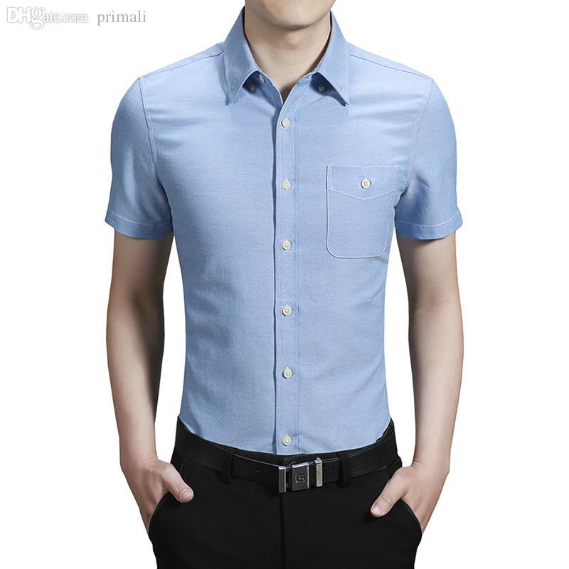 Wholesale-2016 جديد زائد حجم الرجال اللباس قميص مع جيب قصيرة الأكمام البلوز العضلات العضلات المجهزة الأعمال عارضة الزفاف القماش M-5XL