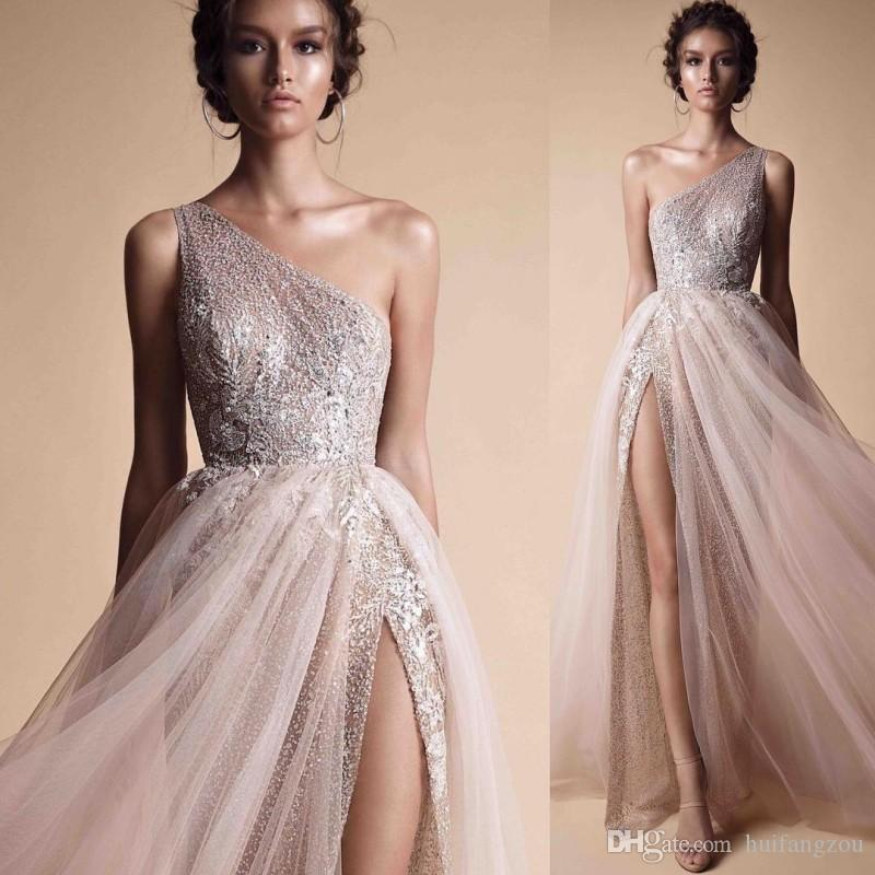 Berta A Line Prom Dresses Evening Wear Free Shipping One Shoulder Sequined Shiny Evening Gowns High Split Custom Made Formal Prom Dresses