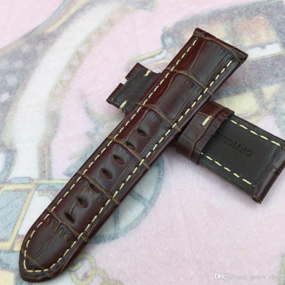 Cinturino a fascia in pelle di vitello marrone rosso serie 26mm 125 / 75mm di alta qualità per orologio Panerai UNMINOR