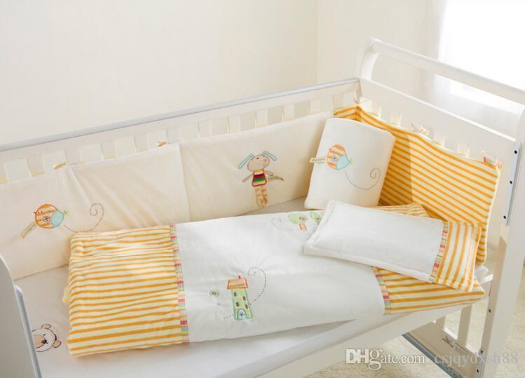 Baby bedding set 100% cotton Crib bedding set White yellow Embroidery lovely bird girl elves Quilt Pillow Bumper Bedsheet 5 item Cot bedding