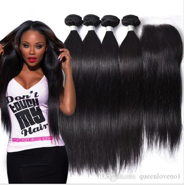 Brazilian Straight Human Hair Weaves Extensions 4 Bundles with Closure Free Middle 3 Part Double Weft Dyeable Bleachable 100g/pc