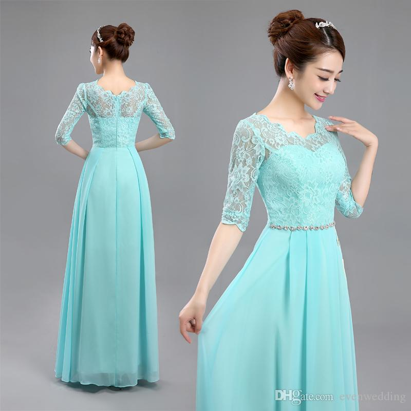 Scoop Neck Lace Chiffon Bridesmaid Dress With Half Sleeves 2019 New Long Wedding Party Dress Lake Blue Bridesmaid Dresses Gowns Highstreet Bridesmaid