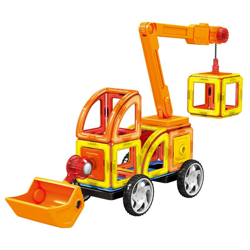 Blocks 60Pcs Magnetic Designer Building Blocks 3D DIY Creative Engineering Vehicles Bricks Models Learning Educational Toy Kid Gifts