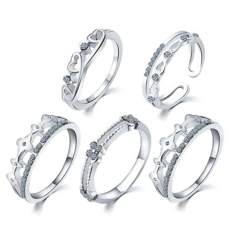 Ring Set Silver Band Rings Hot Sale CZ Diamond Crown Finger Rings for Woman Girl 5pcs/set Silver Jewelry Wholesale Free Shipping 0354WH