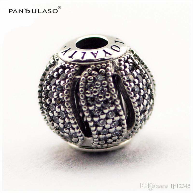LEYALTY Limpar CZCharm Essência Coleta Serve Para Pandora Pulseiras 2.5mm Buraco Sterling-Silver-jóias Beads Para A Mulher Por Atacado