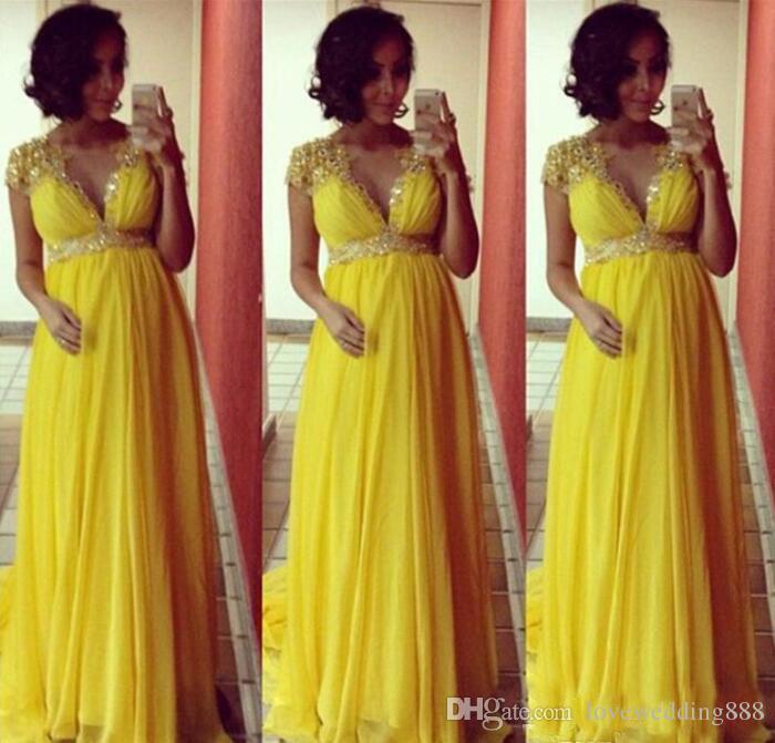 Abiti da sera lunghi in chiffon giallo brillante maniche corte per le donne incinta maternità abiti da ballo formale del partito Impero perline Crystal Sash