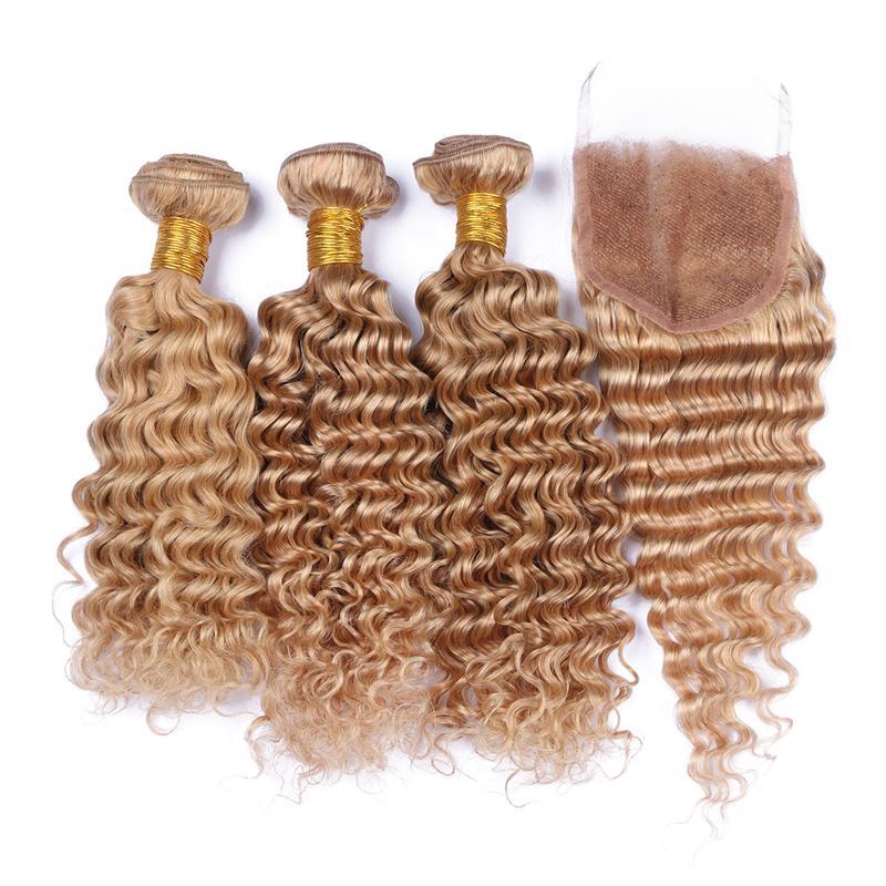 9A 딥 웨이브 인간의 머리카락 3 묶음 레이스 클로저 4PCS / 로트 꿀 금발 # 27 머리 짜기 위 레이스 클로저 4x4