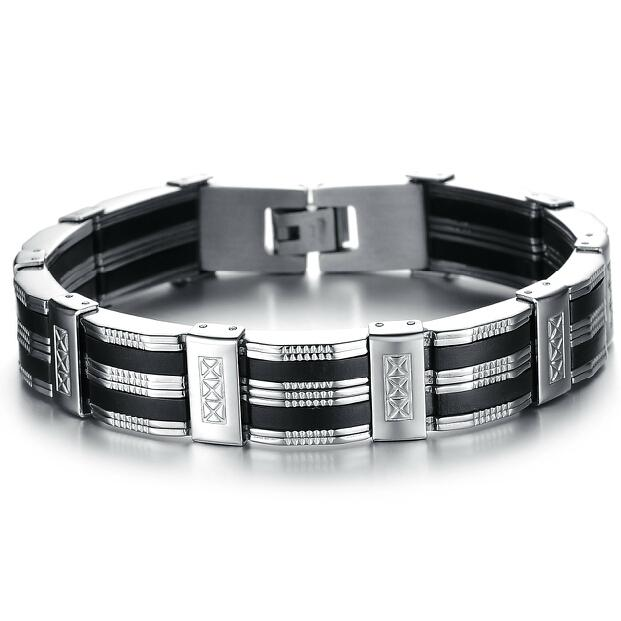 Personality Men Bracelet Braclet High Quality Stainless Steel & Silicone Mens Bracelets Jewelry For Best Friends Wristbands Christmas Gift