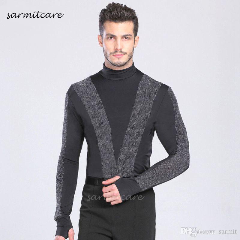 قميص الرقص اللاتينية للرجال بذلة أرخص CAD083 الذكور طويلة الأكمام سامبا الرقص ازياء تانجو سامبا زي ملابس الرقص قمصان اللاتينية