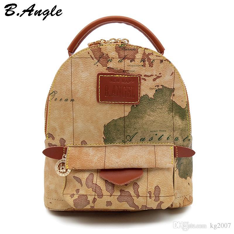 Mapa do mundo de alta qualidade mochila mulheres mochila de couro mochila de impressão mochila saco de viagem HC-Z-6972