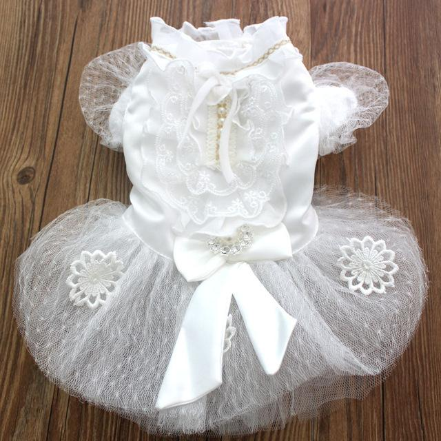 Princess Pet dog Wedding dress Cat Puppy Skirt clothes Bling accessories&Bow design 5 sizes XS S M L XL