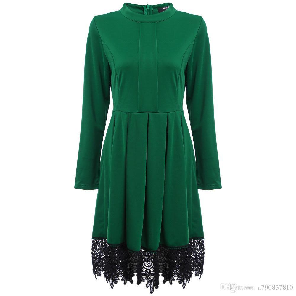 2017 femmes automne designer de mode robe avec des robes de dentelle, femmes élégantes Vintage Swing Casual Party Wear au travail Business NYC392