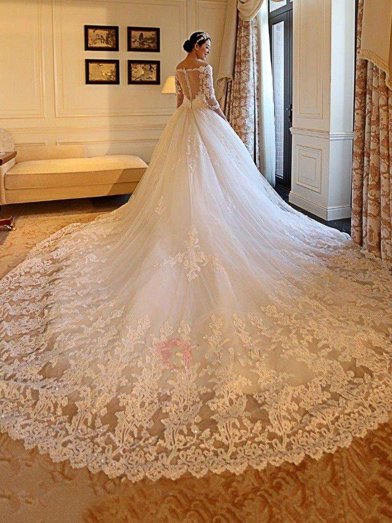 Vestido De Noiva Mangas Largas 2018 Vestidos de Novia 2017 Tallas grandes Apliques del hombro Vestidos de novia nupcial robe de mariage