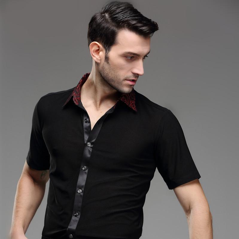 uomo estate latino danza latino indossare samba moderno danza body vestiti maschili danza latina vestiti adulto top cort-sleeve quadrato danza