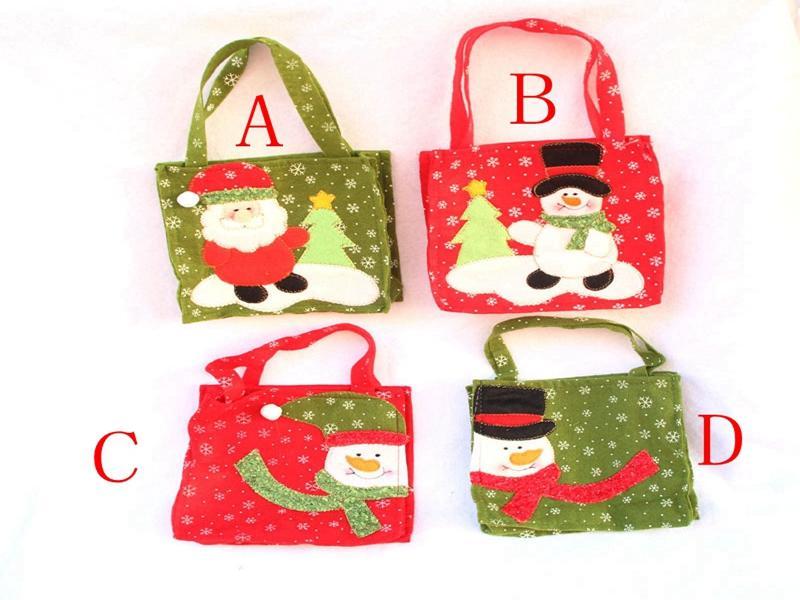 30pcs / lot Expédition rapide 16 * 16 cm Santa Claus bonhomme de neige poignée sac sac cadeau de Noël décoration sacs