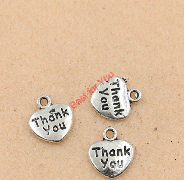 Vielen Dank, dass Sie Herz Charm Zink-Legierung Anhänger Antik Silber Ton Schmuck Diy Schmuckherstellung Handmade 12x11mm Schmuckherstellung