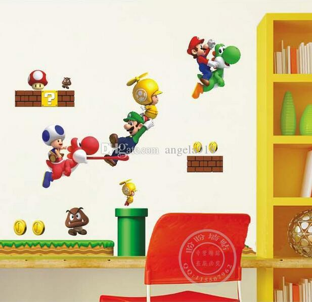 AY621 Super Mario Wall Stickers Desenhos Animados Wallpapers 3D Crianças  Removível 60 * 90cm PVC Papel ... Part 67