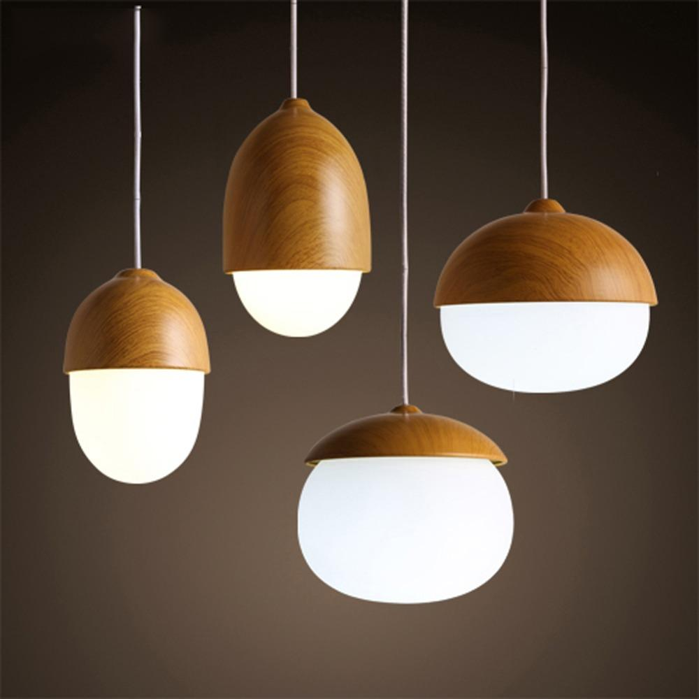 wood lighting. American Country Pendant Light Creative Wood Lamp Glass Ball Hanging Nordic Designer Art Deco Lighting Abajur Pendants Bronze