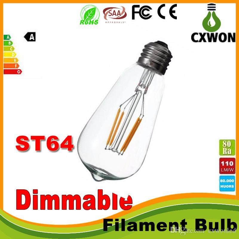 Super brillante Dimmable E27 ST64 Edison Style Vintage Retro COB LED Filamento Bombilla Lámpara Blanco caliente 85-265V Retro LED Filamento Bulbo