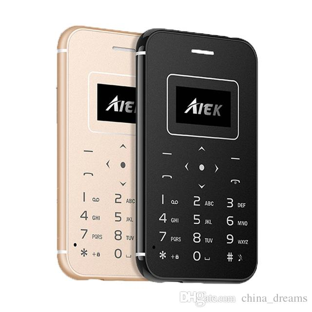 Fast shipping Ultra Thin Card Mobile Phone AIEK/AEKU X8 Mini Pocket Students Personality Low Radiation For Children Phone