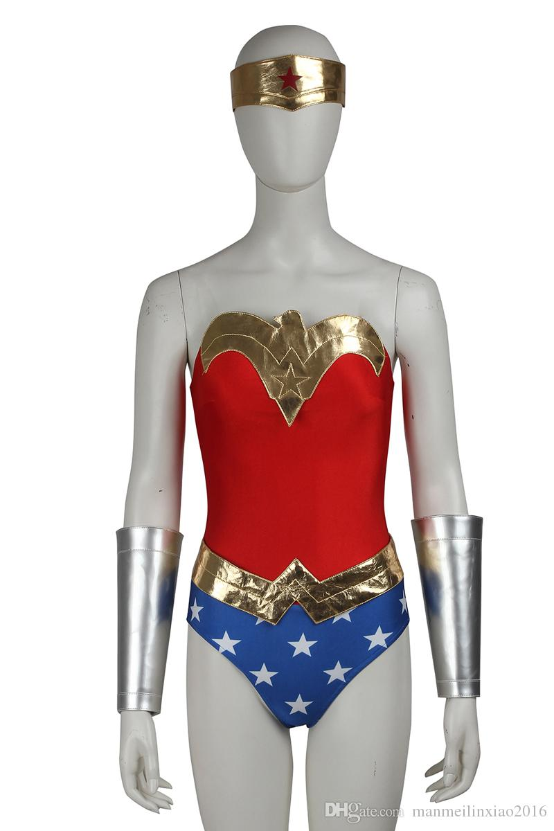 Adult Wonder Woman Diana Cosplay 10 Pcs Outfit Wig Set Halloween Cosplay Costume