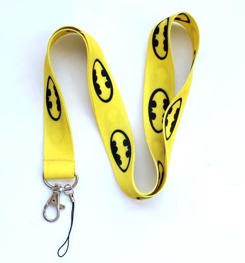 Free Shipping 100pcs Yellow Batman Classic Neck Lanyard Multicolor Phone Accessories Cell Phone Camera Neck Straps Lanyard Gifts