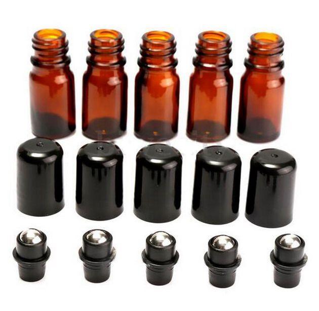 공장 가격 롤에 유리 앰버 병 에센셜 오일 액체 금속 롤러 공 5 ml 새로운 200pcs / lot DHL에 의해 무료 배송