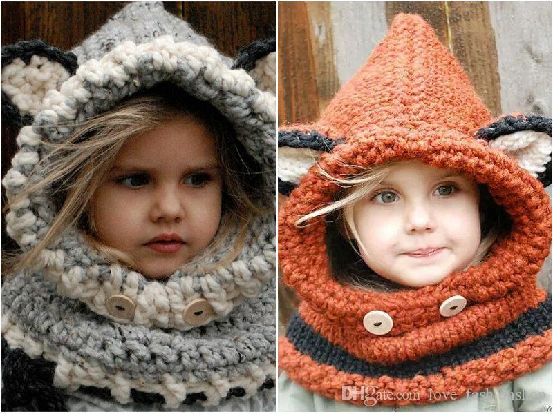2pcs Childlren fox scarf collar sets Crochet hats winter windproof hats Kids wool knitted cap children's hats headgear soft warm hat