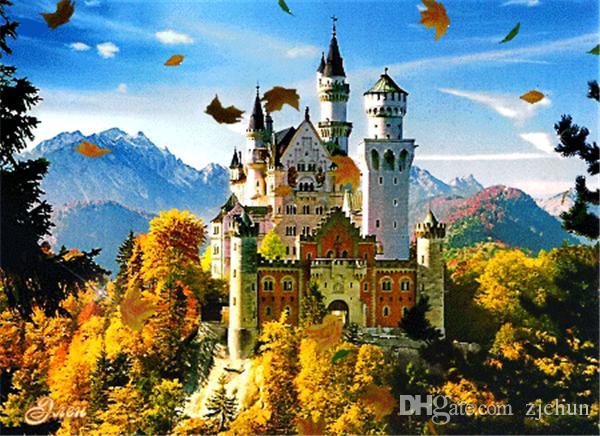 5D DIY Mozaik Elmas Boyama Çapraz Dikiş kitleri manzara dağ kale tam Reçine yuvarlak Elmas Nakış dikiş Ev Dekor yx0736