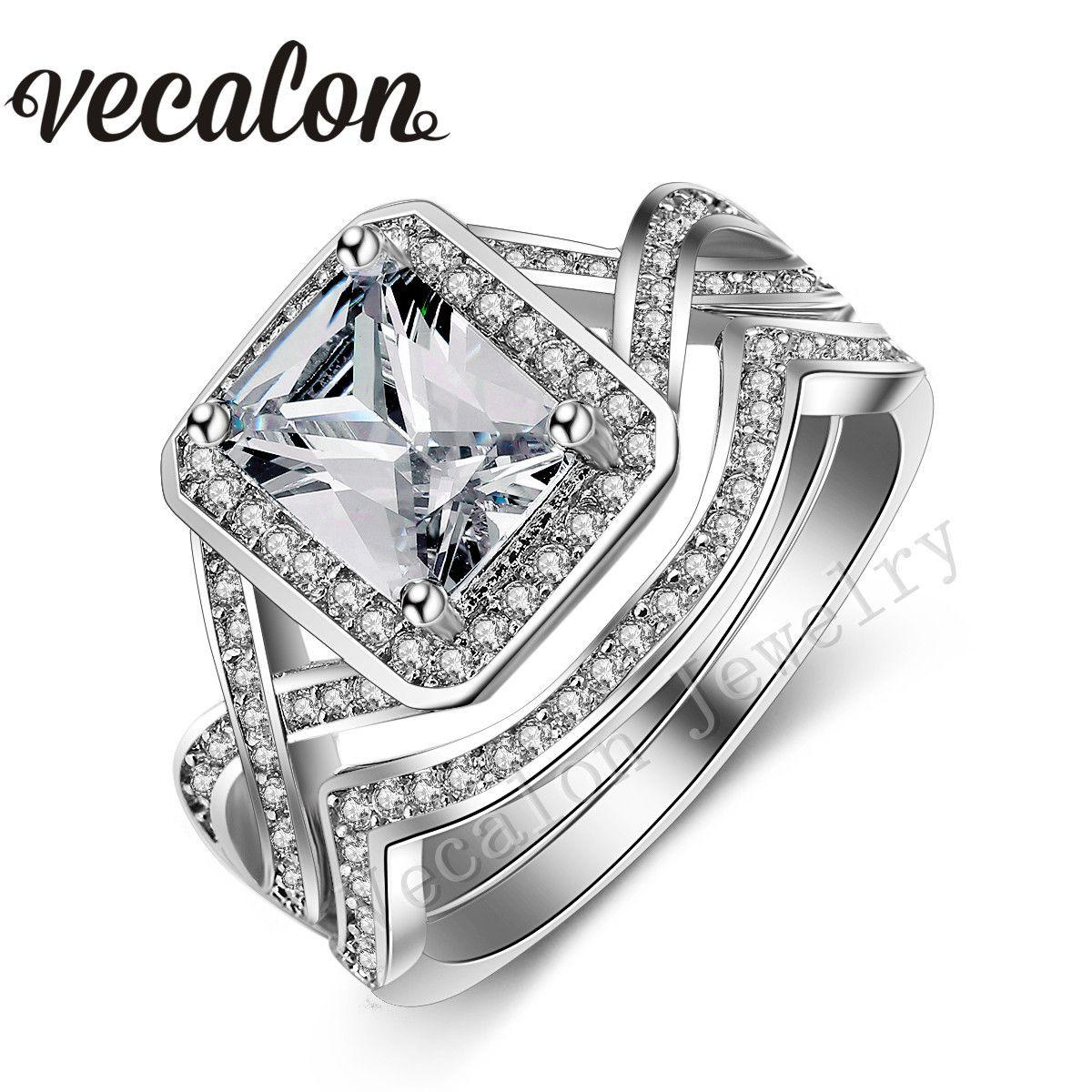 مجموعة خاتم الزواج من Vecalon للنساء الأميرة المقطوعة بقطع الألماس 4 قيراط من الذهب الأبيض عيار 10 قيراطًا