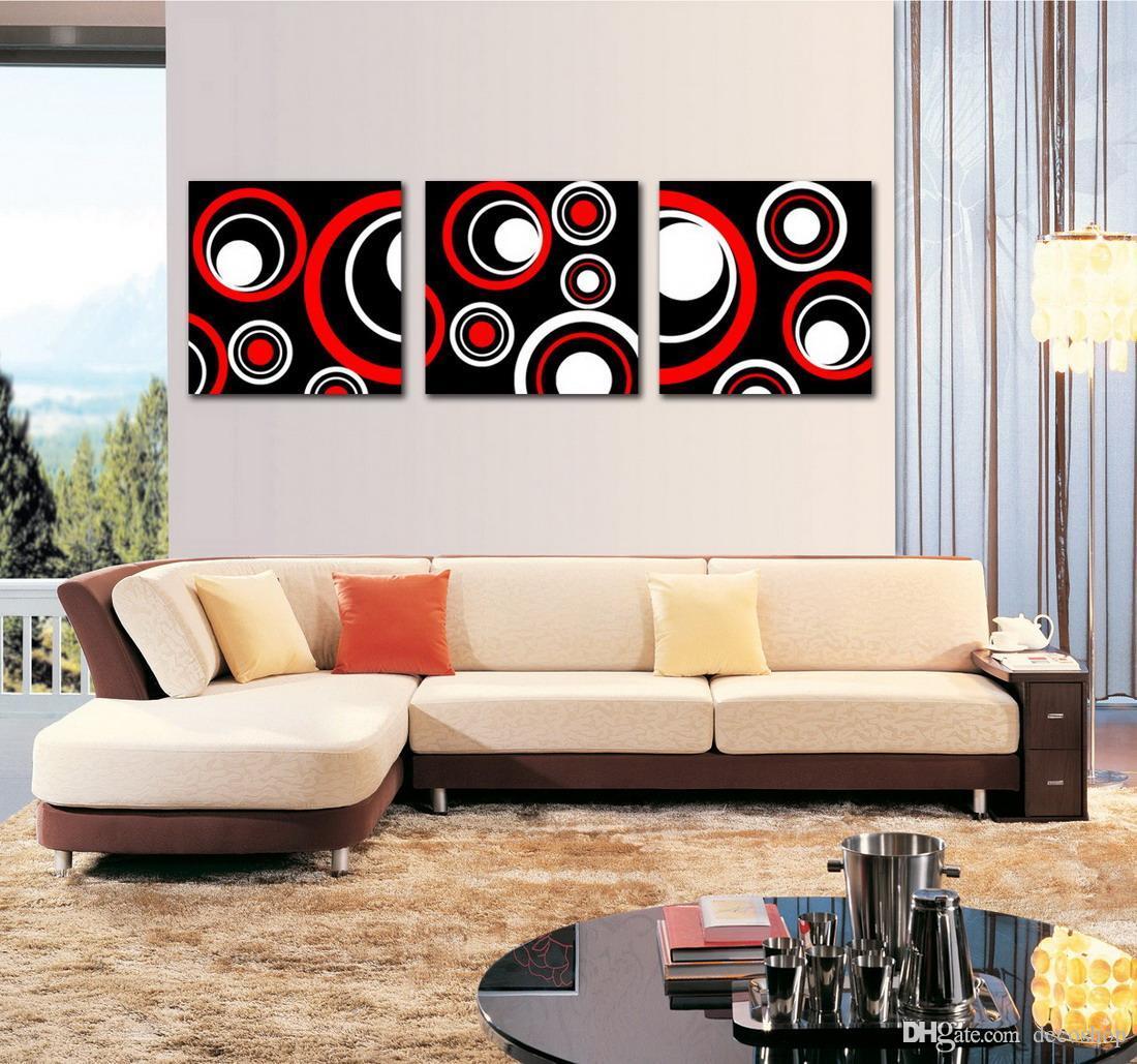 Moderna Fine Abstract Circle Painting Stampa giclée su tela Wall Art Home Decoration Set30202