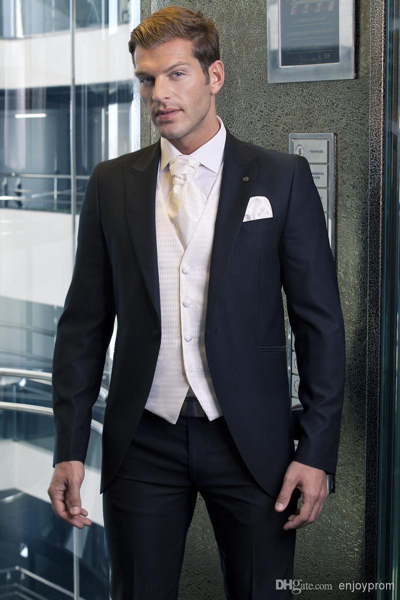 Cheap Men Wedding Suit Navy Blue Three Piece Suit Mens Tuxedo ...