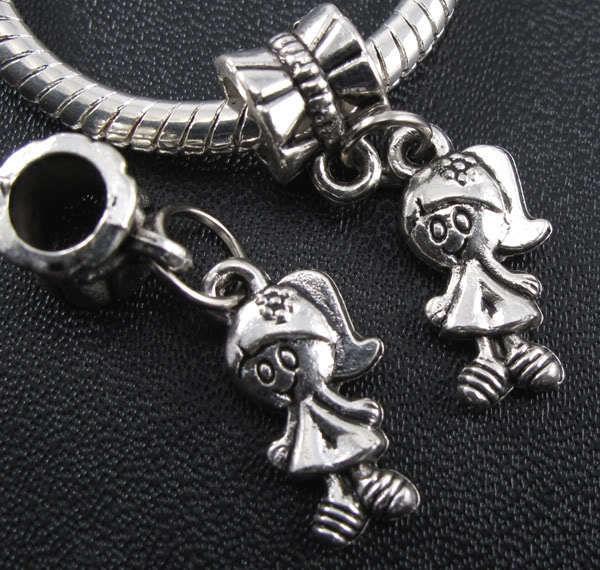 100pcs tibétain argent fille pendentifs pendentif balancent perles ajustement européen bracelet 26mm