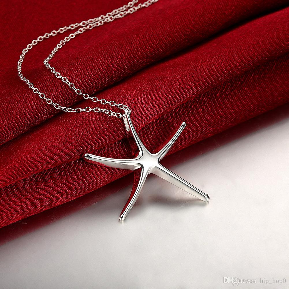 Free Shipping Fashion Jewelry Necklace Starfishes Pendants Chains 925 Jewelry Silver Plated Necklace Sea Star Pendant Cute Gift for Girls